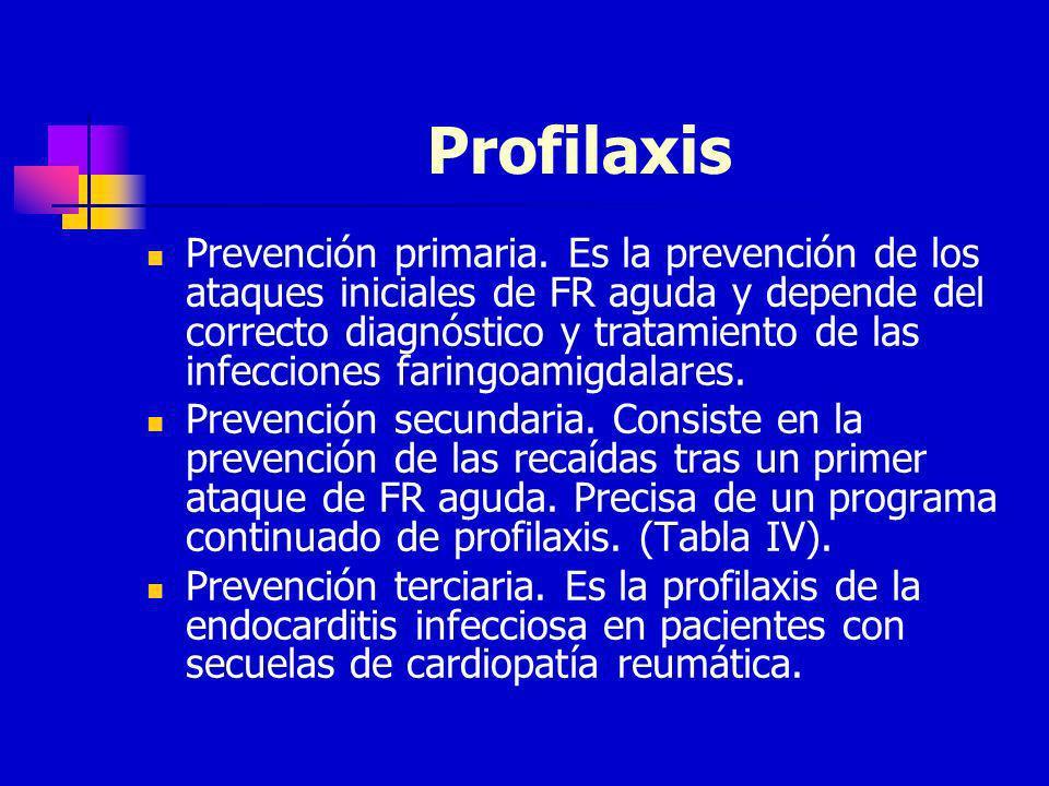 Profilaxis Prevención primaria. Es la prevención de los ataques iniciales de FR aguda y depende del correcto diagnóstico y tratamiento de las infeccio