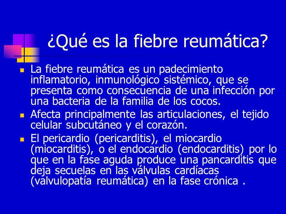 ¿Qué es la fiebre reumática? La fiebre reumática es un padecimiento inflamatorio, inmunológico sistémico, que se presenta como consecuencia de una inf