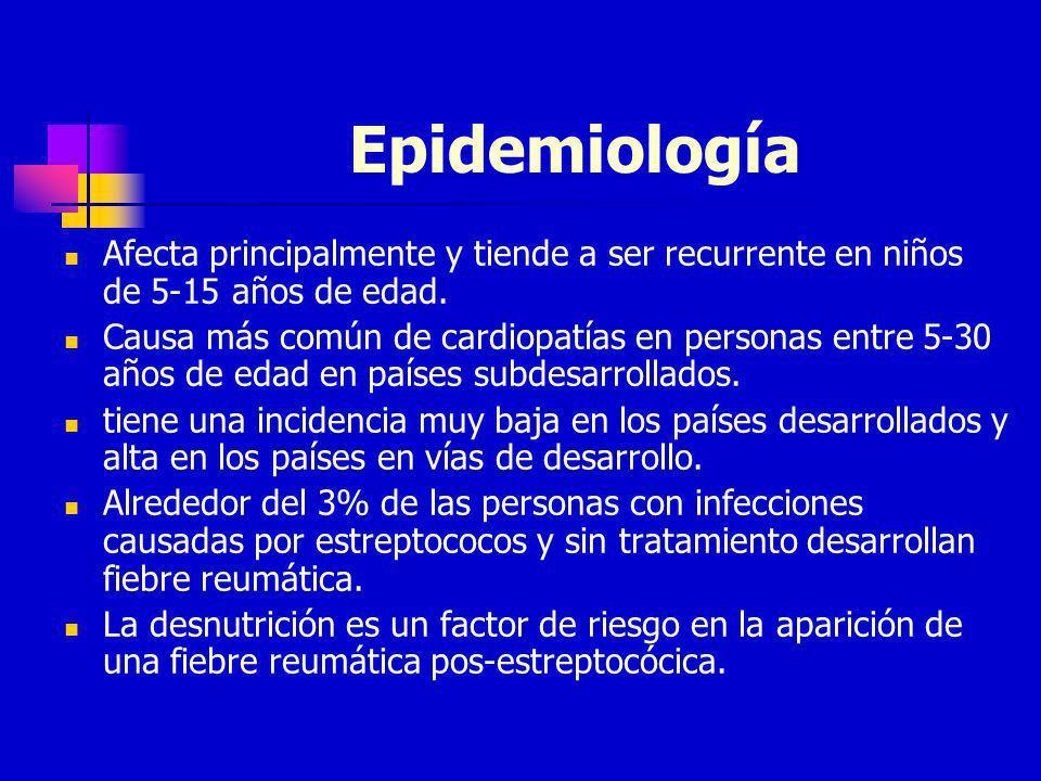 Epidemiología Afecta principalmente y tiende a ser recurrente en niños de 5-15 años de edad. Causa más común de cardiopatías en personas entre 5-30 añ