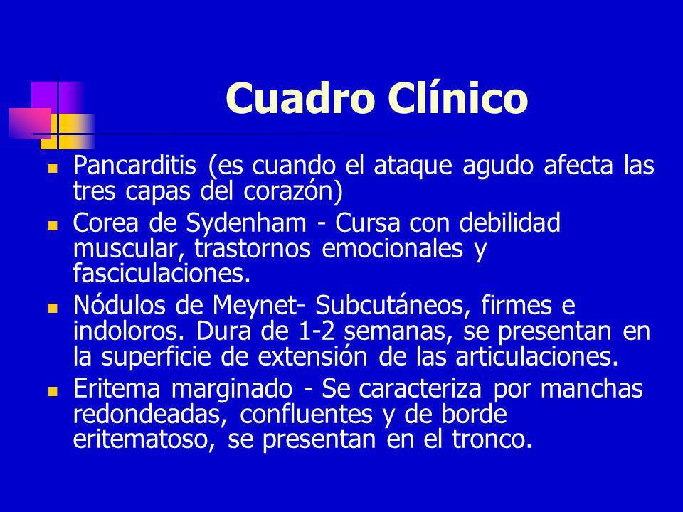 Cuadro Clínico Pancarditis (es cuando el ataque agudo afecta las tres capas del corazón) Corea de Sydenham - Cursa con debilidad muscular, trastornos