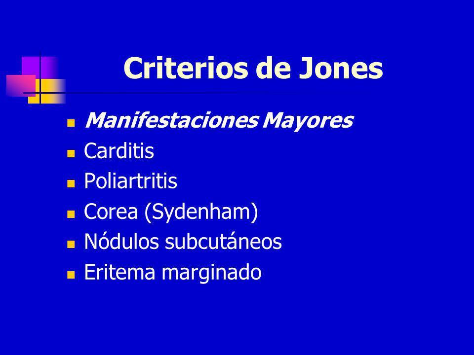 Criterios de Jones Manifestaciones Mayores Carditis Poliartritis Corea (Sydenham) Nódulos subcutáneos Eritema marginado