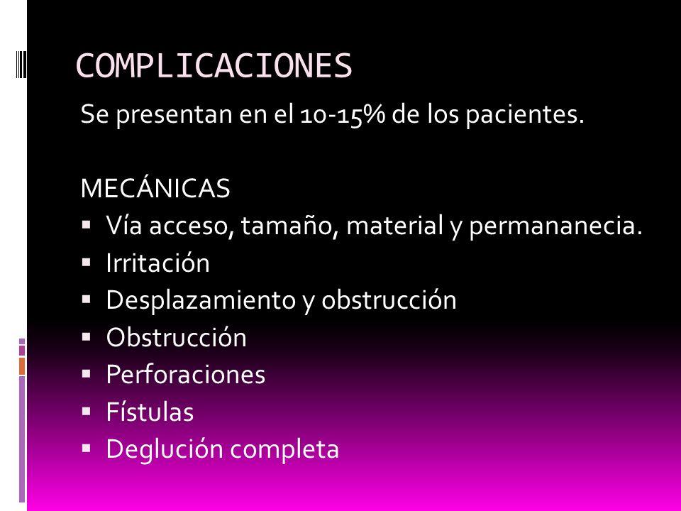 COMPLICACIONES Se presentan en el 10-15% de los pacientes. MECÁNICAS Vía acceso, tamaño, material y permananecia. Irritación Desplazamiento y obstrucc