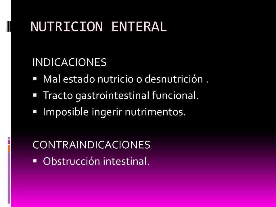 NUTRICION ENTERAL INDICACIONES Mal estado nutricio o desnutrición. Tracto gastrointestinal funcional. Imposible ingerir nutrimentos. CONTRAINDICACIONE