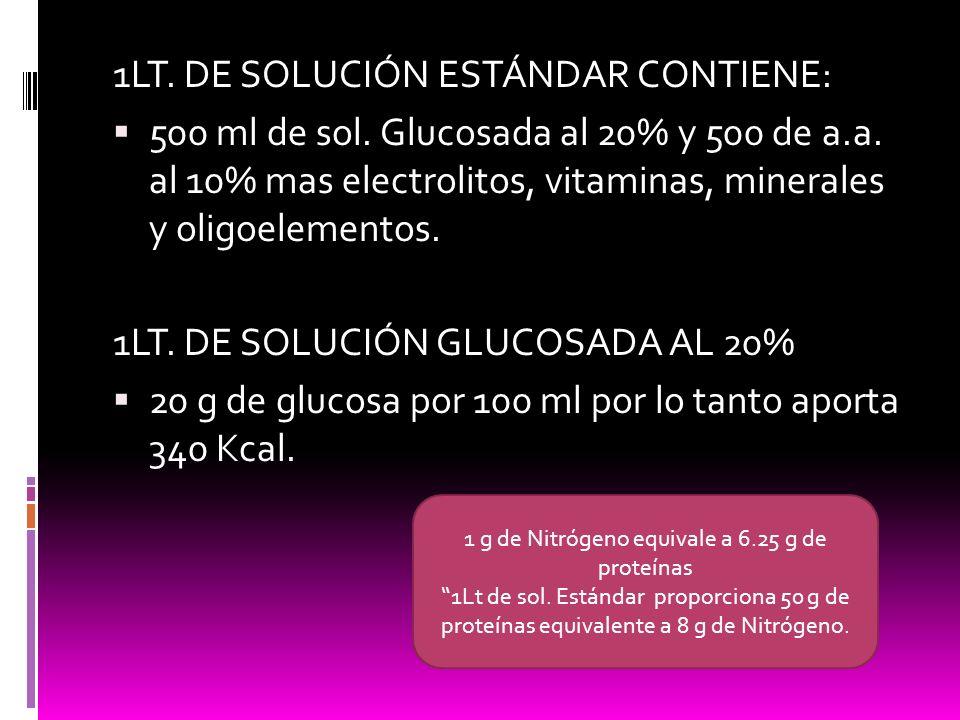 1LT. DE SOLUCIÓN ESTÁNDAR CONTIENE: 500 ml de sol. Glucosada al 20% y 500 de a.a. al 10% mas electrolitos, vitaminas, minerales y oligoelementos. 1LT.