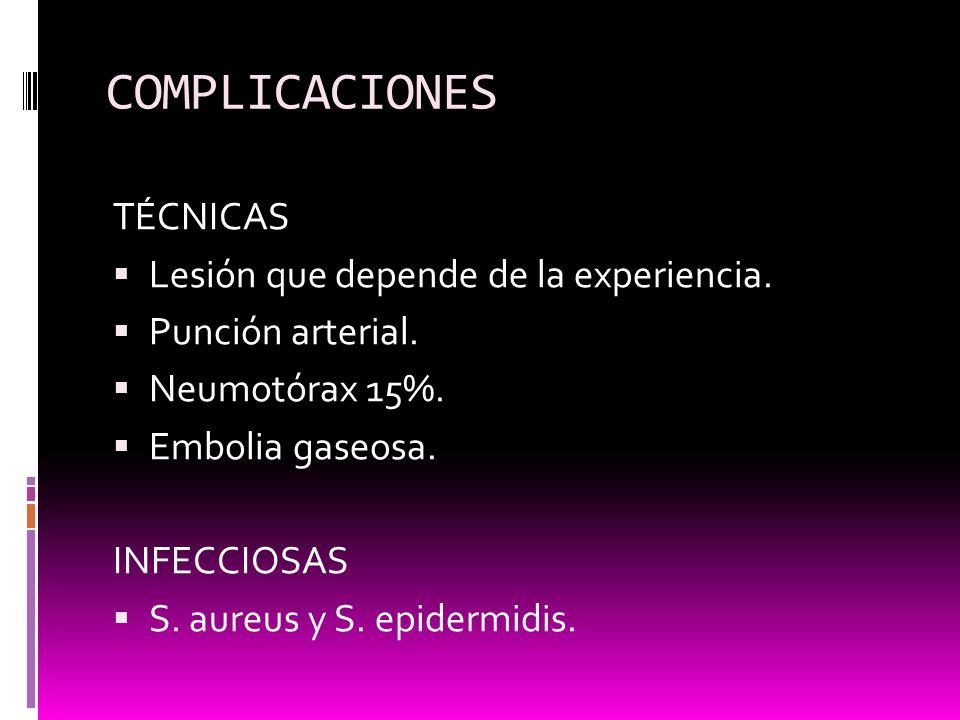 COMPLICACIONES TÉCNICAS Lesión que depende de la experiencia. Punción arterial. Neumotórax 15%. Embolia gaseosa. INFECCIOSAS S. aureus y S. epidermidi