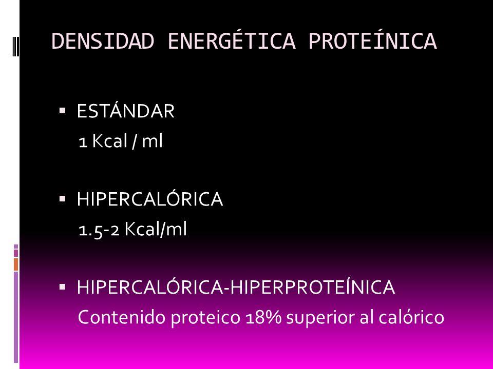 DENSIDAD ENERGÉTICA PROTEÍNICA ESTÁNDAR 1 Kcal / ml HIPERCALÓRICA 1.5-2 Kcal/ml HIPERCALÓRICA-HIPERPROTEÍNICA Contenido proteico 18% superior al calór