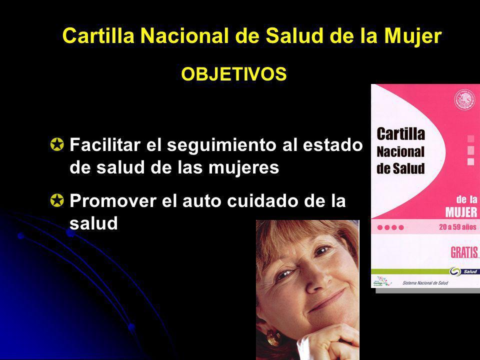 Cartilla Nacional de Salud de la Mujer OBJETIVOS Facilitar el seguimiento al estado de salud de las mujeres Promover el auto cuidado de la salud