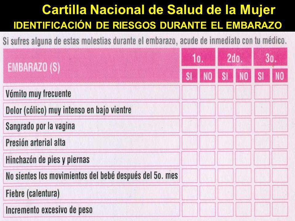 Cartilla Nacional de Salud de la Mujer IDENTIFICACIÓN DE RIESGOS DURANTE EL EMBARAZO