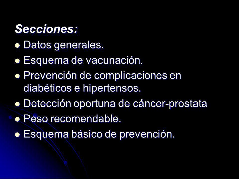 Secciones: Datos generales. Datos generales. Esquema de vacunación. Esquema de vacunación. Prevención de complicaciones en diabéticos e hipertensos. P