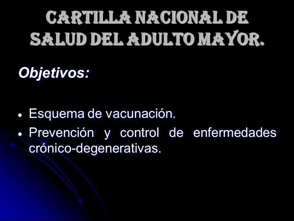 Cartilla Nacional de Salud del Adulto Mayor. Objetivos: Esquema de vacunación. Esquema de vacunación. Prevención y control de enfermedades crónico-deg