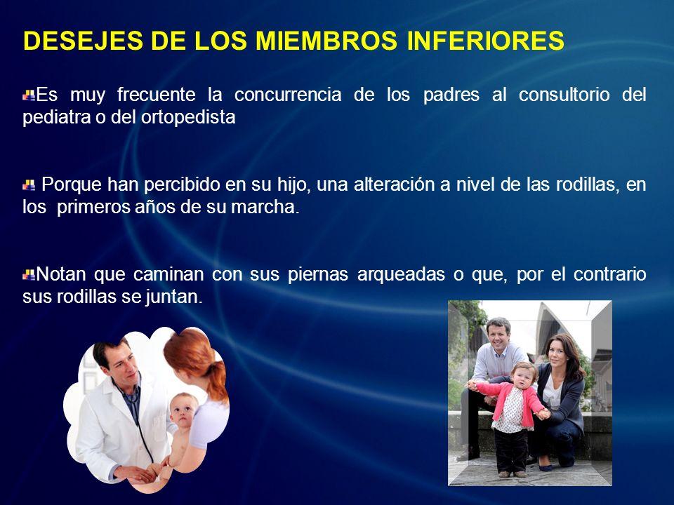 DESEJES DE LOS MIEMBROS INFERIORES Es muy frecuente la concurrencia de los padres al consultorio del pediatra o del ortopedista Porque han percibido e
