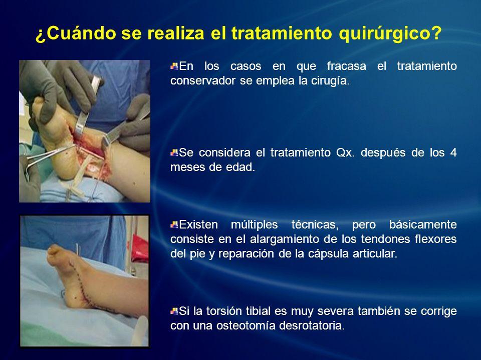 En los casos en que fracasa el tratamiento conservador se emplea la cirugía. Se considera el tratamiento Qx. después de los 4 meses de edad. Existen m