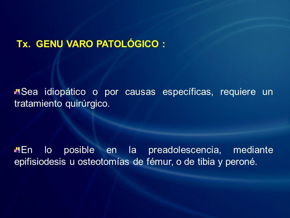 Sea idiopático o por causas específicas, requiere un tratamiento quirúrgico. En lo posible en la preadolescencia, mediante epifisiodesis u osteotomías