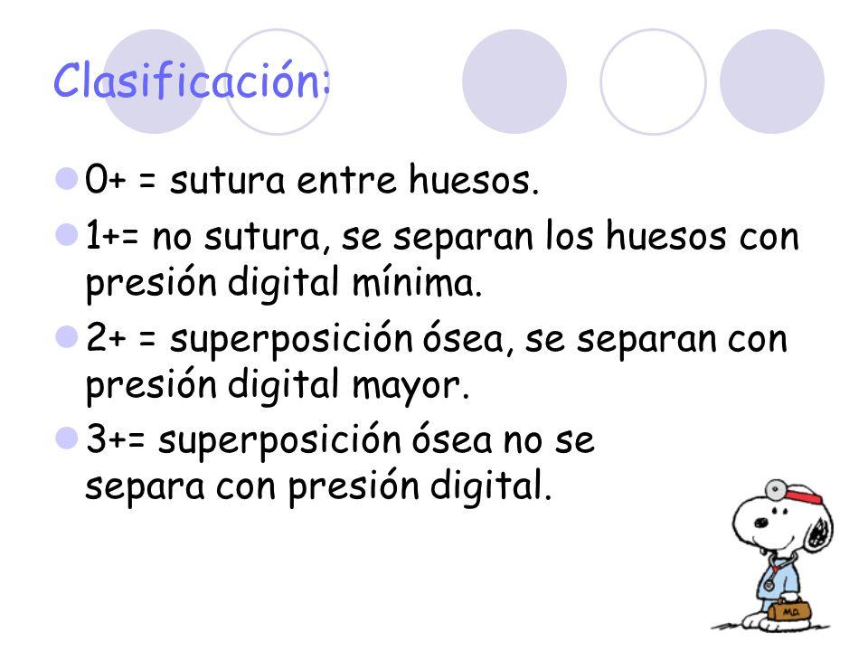 0+ = sutura entre huesos. 1+= no sutura, se separan los huesos con presión digital mínima. 2+ = superposición ósea, se separan con presión digital may