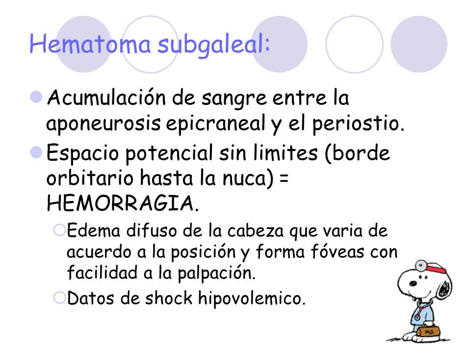 Hematoma subgaleal: Acumulación de sangre entre la aponeurosis epicraneal y el periostio. Espacio potencial sin limites (borde orbitario hasta la nuca
