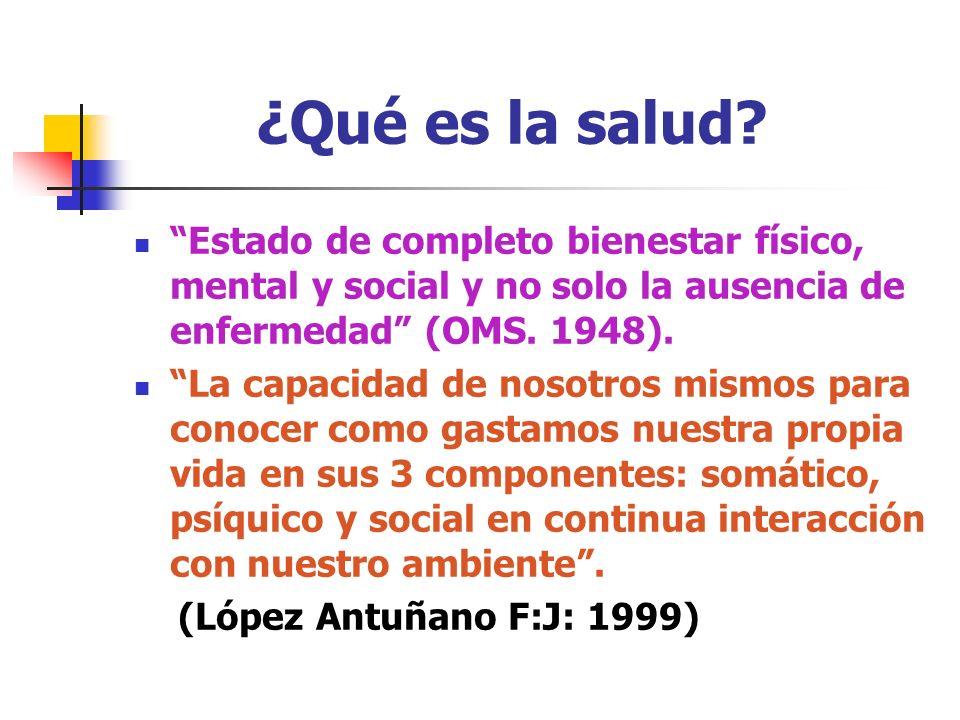 ¿Qué es la salud? Estado de completo bienestar físico, mental y social y no solo la ausencia de enfermedad (OMS. 1948). La capacidad de nosotros mismo
