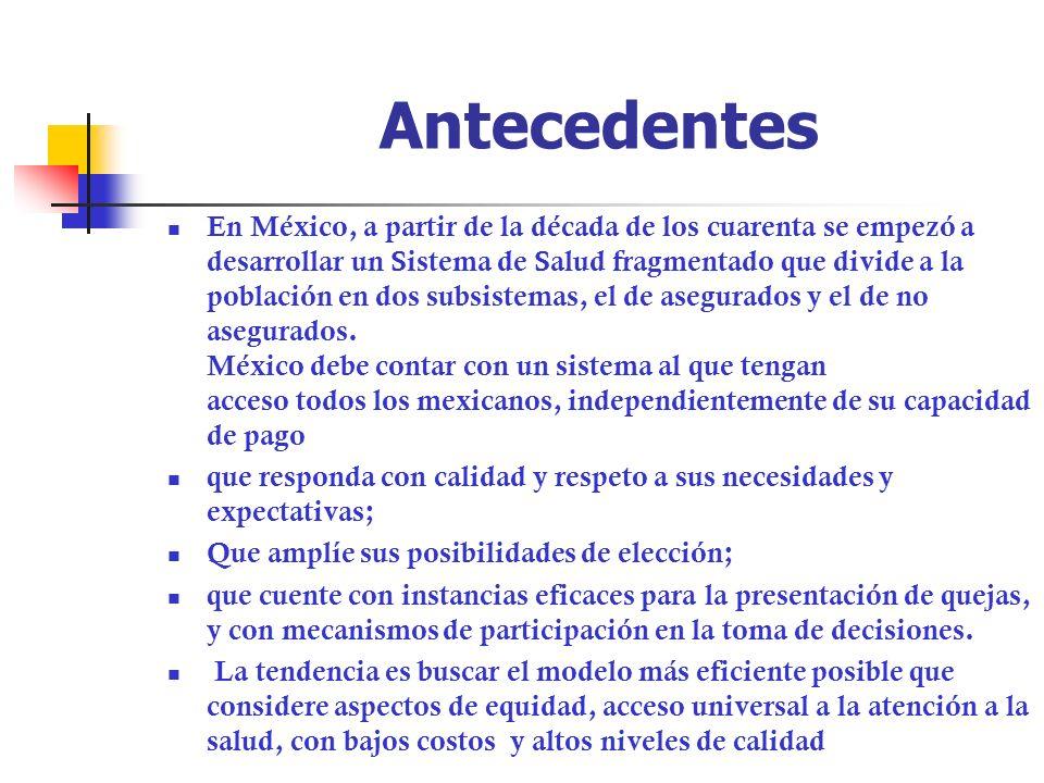 Antecedentes En México, a partir de la década de los cuarenta se empezó a desarrollar un Sistema de Salud fragmentado que divide a la población en dos