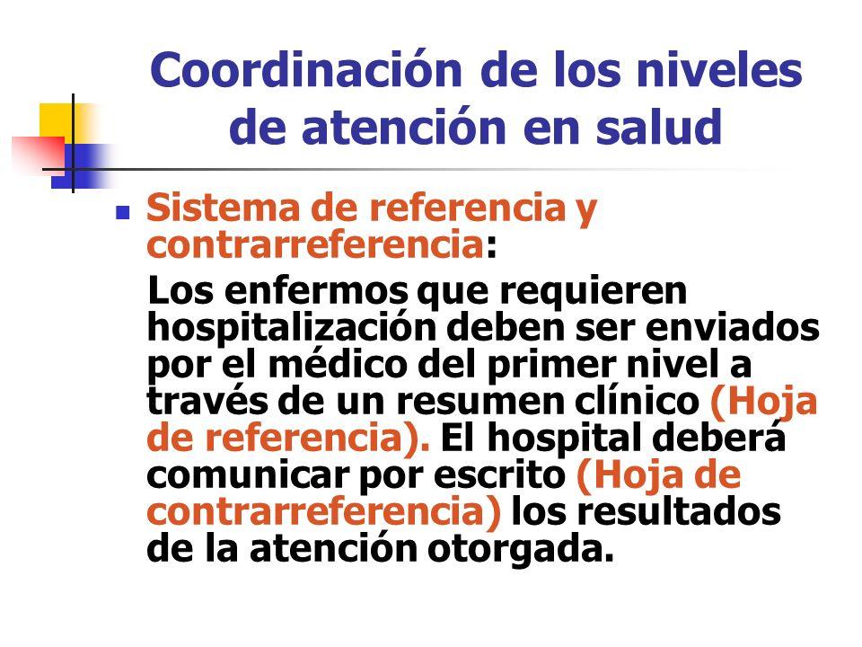Coordinación de los niveles de atención en salud Sistema de referencia y contrarreferencia: Los enfermos que requieren hospitalización deben ser envia