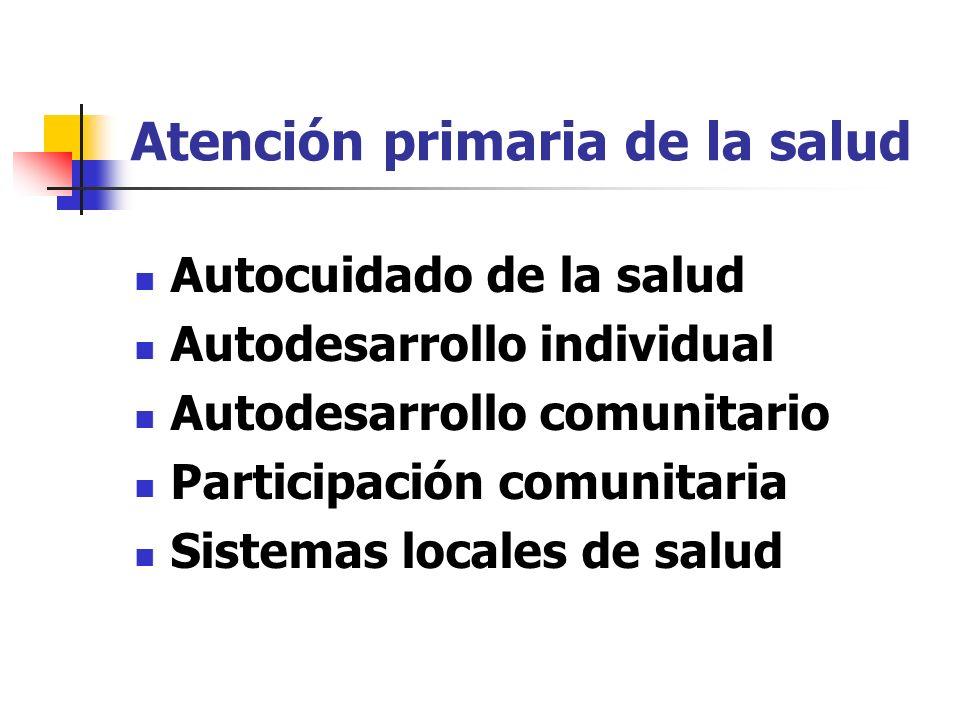 Atención primaria de la salud Autocuidado de la salud Autodesarrollo individual Autodesarrollo comunitario Participación comunitaria Sistemas locales