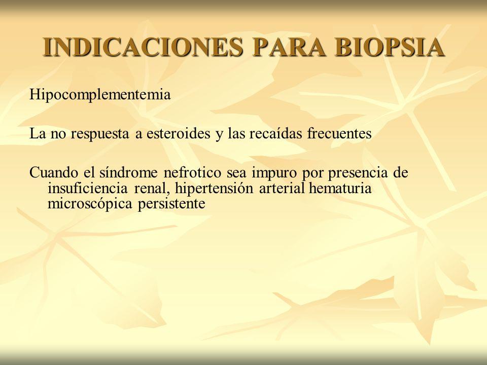 INDICACIONES PARA BIOPSIA Hipocomplementemia La no respuesta a esteroides y las recaídas frecuentes Cuando el síndrome nefrotico sea impuro por presen