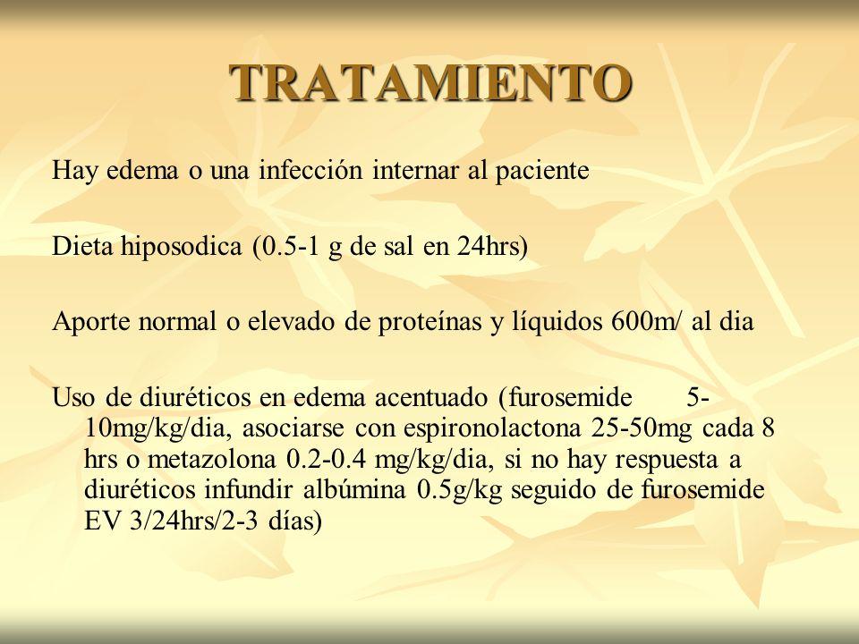 TRATAMIENTO Hay edema o una infección internar al paciente Dieta hiposodica (0.5-1 g de sal en 24hrs) Aporte normal o elevado de proteínas y líquidos