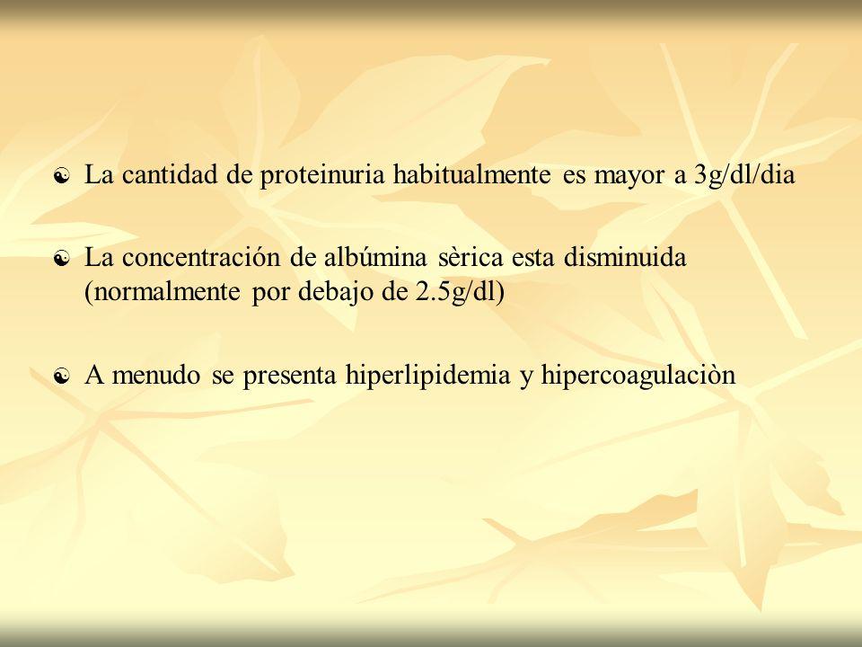 La cantidad de proteinuria habitualmente es mayor a 3g/dl/dia La concentración de albúmina sèrica esta disminuida (normalmente por debajo de 2.5g/dl)