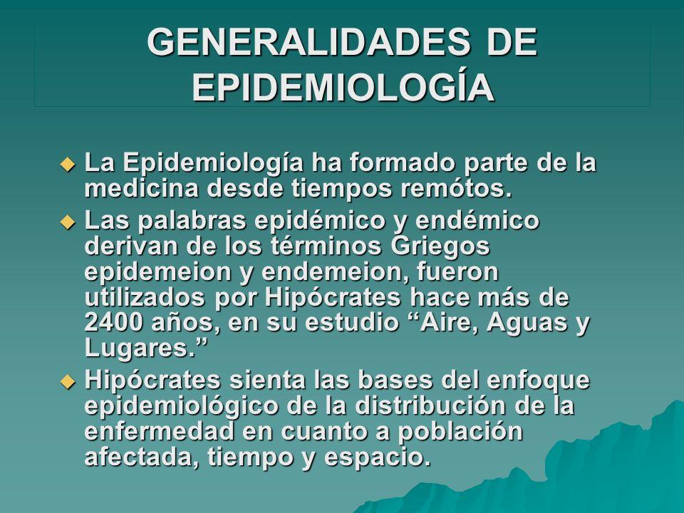 GENERALIDADES DE EPIDEMIOLOGÍA La Epidemiología ha formado parte de la medicina desde tiempos remótos. La Epidemiología ha formado parte de la medicin