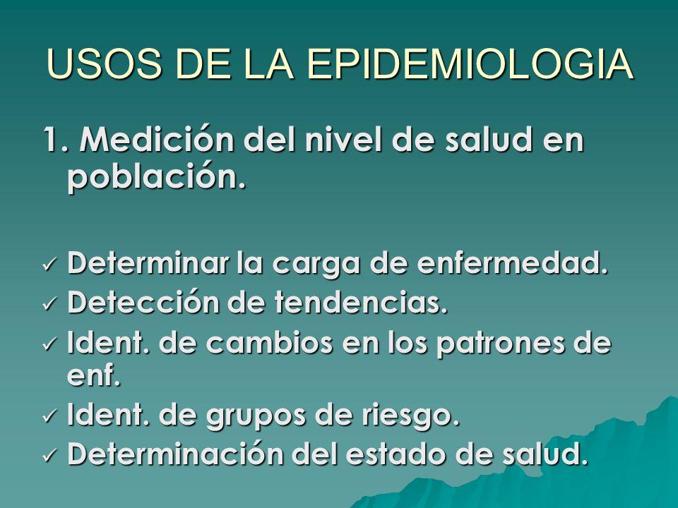 USOS DE LA EPIDEMIOLOGIA 1. Medición del nivel de salud en población. Determinar la carga de enfermedad. Determinar la carga de enfermedad. Detección