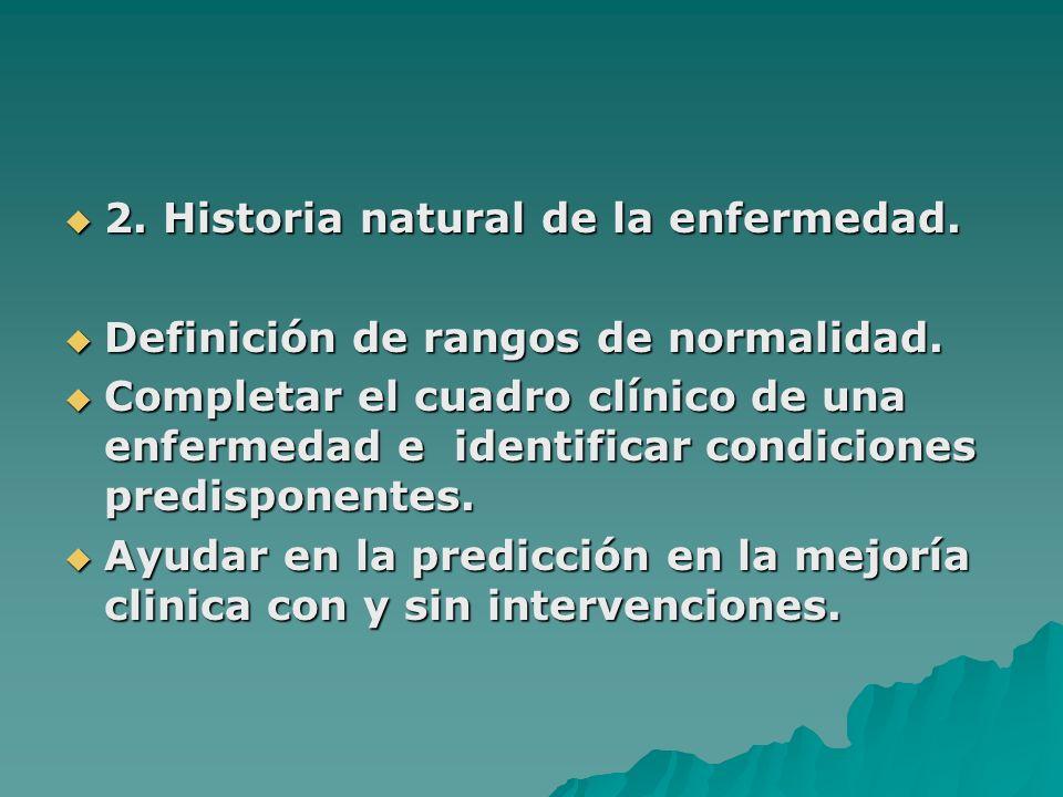 2. Historia natural de la enfermedad. 2. Historia natural de la enfermedad. Definición de rangos de normalidad. Definición de rangos de normalidad. Co