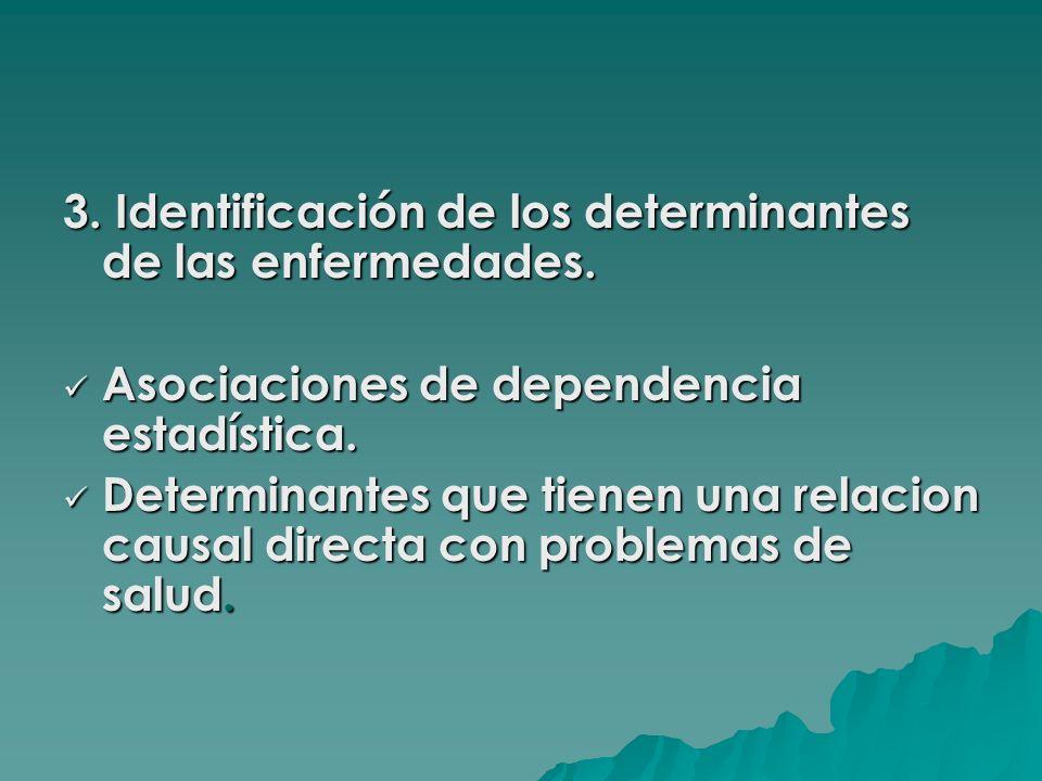 3. Identificación de los determinantes de las enfermedades. Asociaciones de dependencia estadística. Asociaciones de dependencia estadística. Determin
