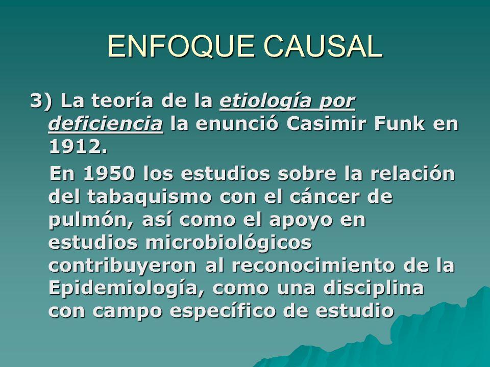 ENFOQUE CAUSAL 3) La teoría de la etiología por deficiencia la enunció Casimir Funk en 1912. En 1950 los estudios sobre la relación del tabaquismo con