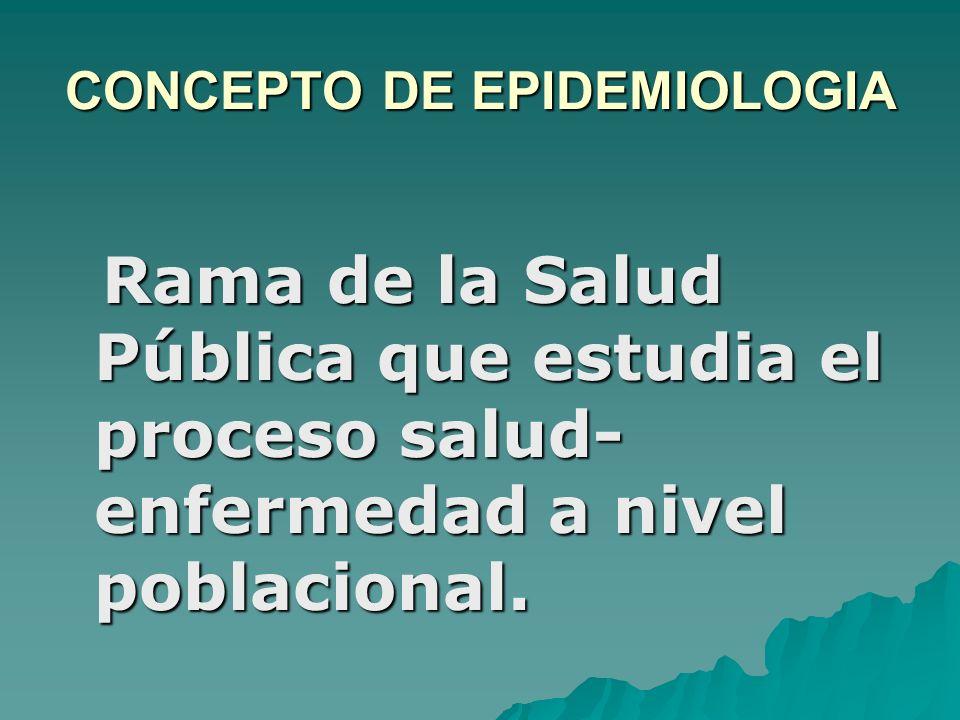CONCEPTO DE EPIDEMIOLOGIA Rama de la Salud Pública que estudia el proceso salud- enfermedad a nivel poblacional. Rama de la Salud Pública que estudia