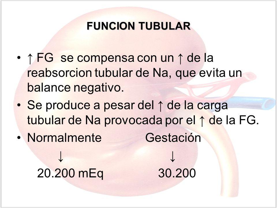 FUNCION TUBULAR FG se compensa con un de la reabsorcion tubular de Na, que evita un balance negativo. Se produce a pesar del de la carga tubular de Na