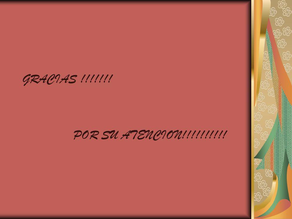 GRACIAS !!!!!!! POR SU ATENCION!!!!!!!!!!