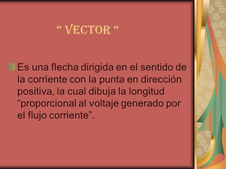 VECTOR Es una flecha dirigida en el sentido de la corriente con la punta en dirección positiva, la cual dibuja la longitud proporcional al voltaje gen