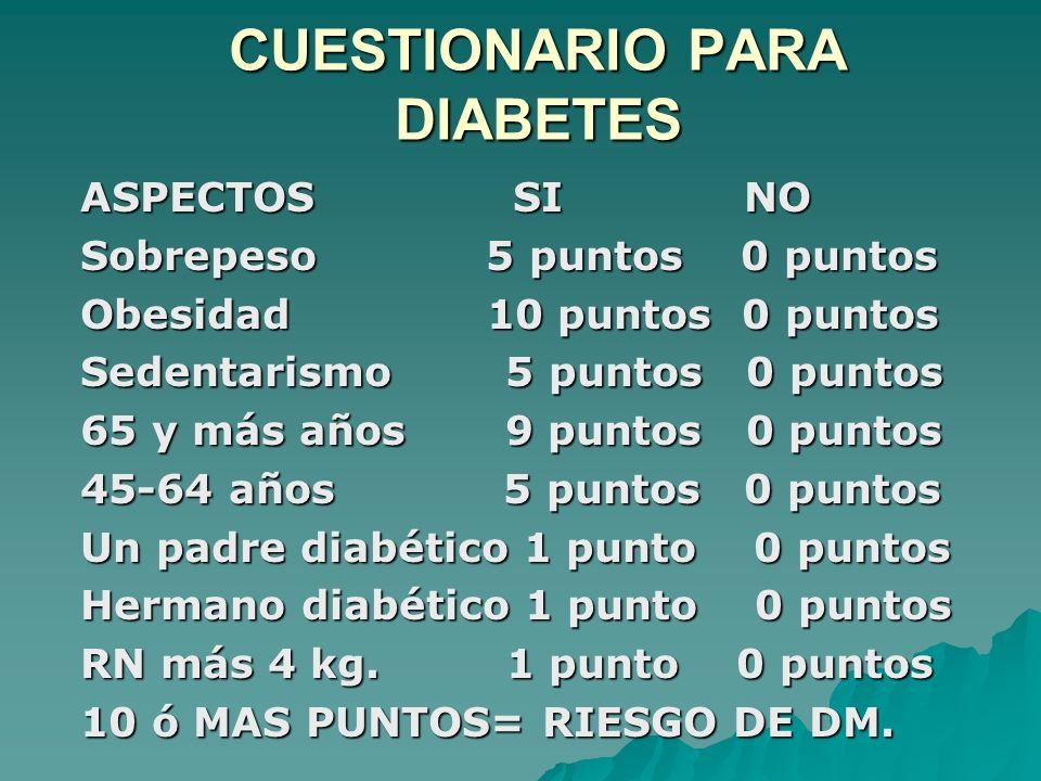 CUESTIONARIO PARA DIABETES ASPECTOS SI NO Sobrepeso 5 puntos 0 puntos Obesidad 10 puntos 0 puntos Sedentarismo 5 puntos 0 puntos 65 y más años 9 punto