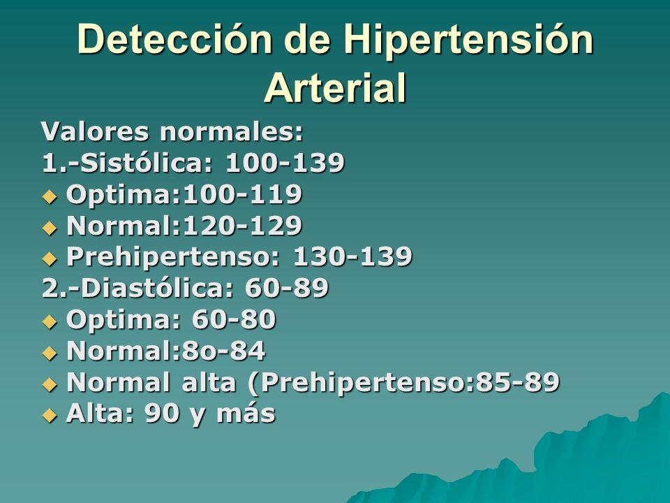 Detección de Hipertensión Arterial Valores normales: 1.-Sistólica: 100-139 Optima:100-119 Optima:100-119 Normal:120-129 Normal:120-129 Prehipertenso: