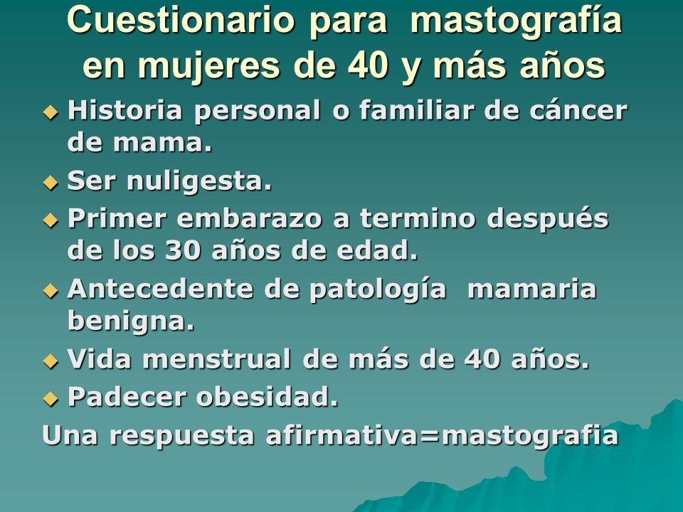 Cuestionario para mastografía en mujeres de 40 y más años Historia personal o familiar de cáncer de mama. Historia personal o familiar de cáncer de ma