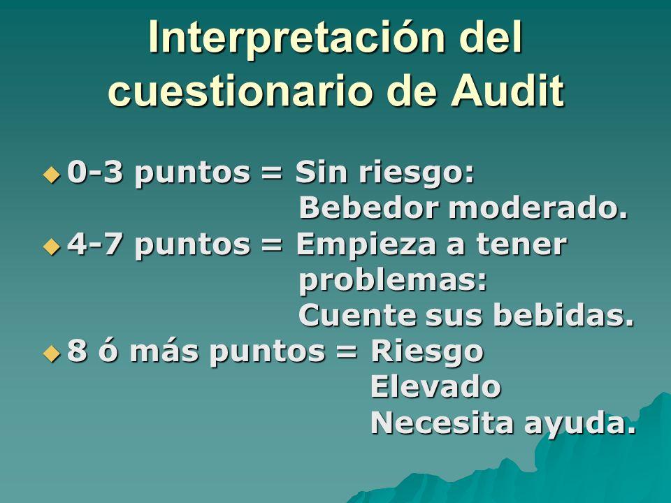 Interpretación del cuestionario de Audit 0-3 puntos = Sin riesgo: 0-3 puntos = Sin riesgo: Bebedor moderado. Bebedor moderado. 4-7 puntos = Empieza a