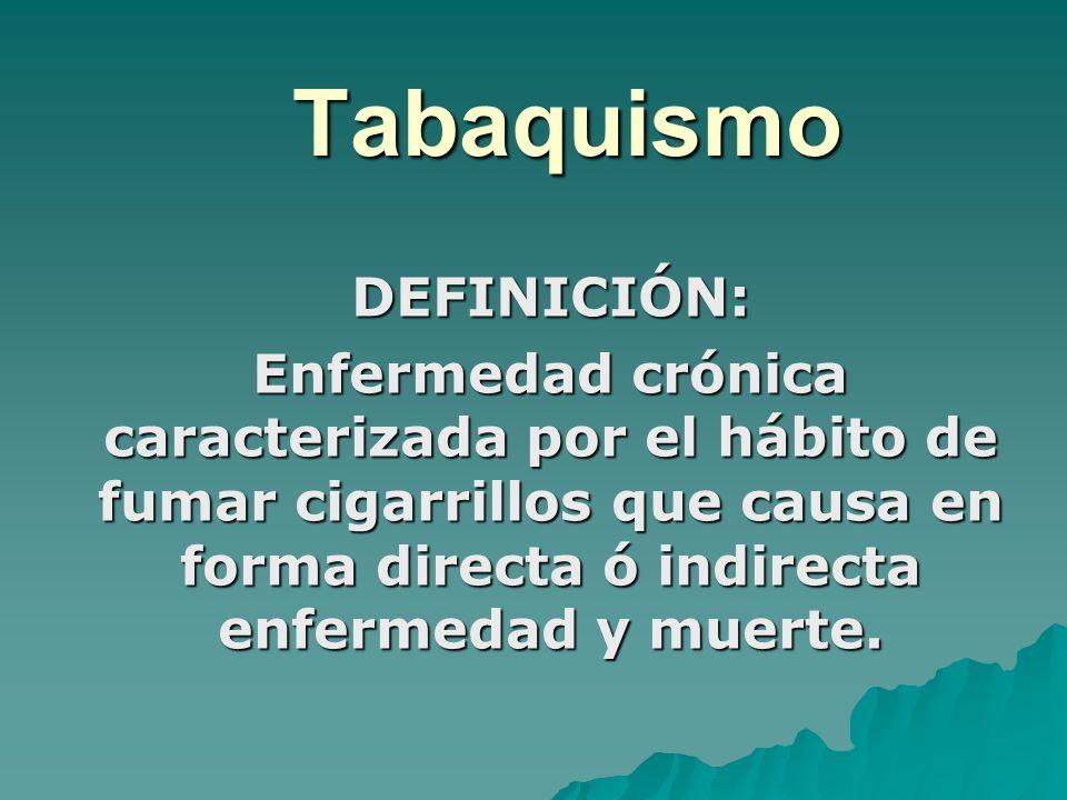 Tabaquismo DEFINICIÓN: Enfermedad crónica caracterizada por el hábito de fumar cigarrillos que causa en forma directa ó indirecta enfermedad y muerte.