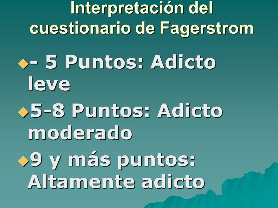 Interpretación del cuestionario de Fagerstrom - 5 Puntos: Adicto leve - 5 Puntos: Adicto leve 5-8 Puntos: Adicto moderado 5-8 Puntos: Adicto moderado