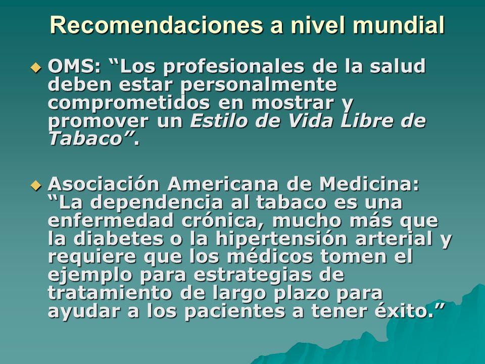 Recomendaciones a nivel mundial OMS: Los profesionales de la salud deben estar personalmente comprometidos en mostrar y promover un Estilo de Vida Lib