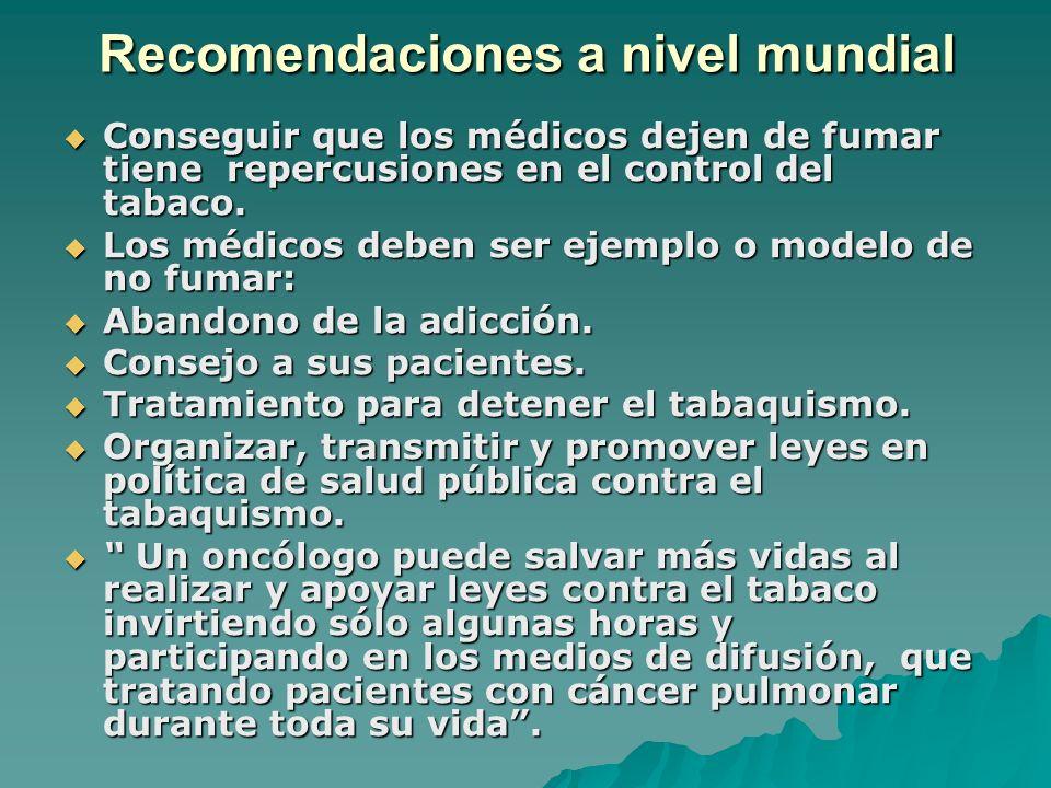 Recomendaciones a nivel mundial Conseguir que los médicos dejen de fumar tiene repercusiones en el control del tabaco. Conseguir que los médicos dejen