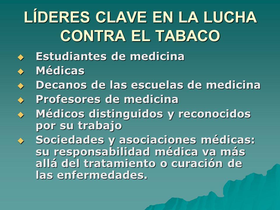 LÍDERES CLAVE EN LA LUCHA CONTRA EL TABACO Estudiantes de medicina Estudiantes de medicina Médicas Médicas Decanos de las escuelas de medicina Decanos