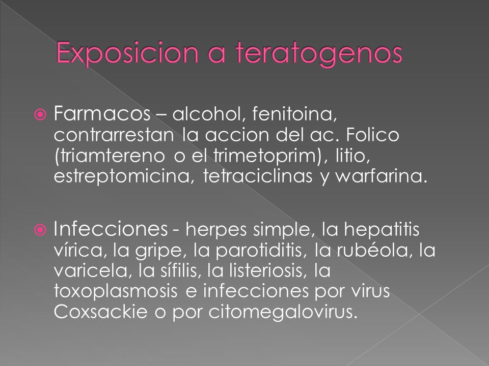 Farmacos – alcohol, fenitoina, contrarrestan la accion del ac. Folico (triamtereno o el trimetoprim), litio, estreptomicina, tetraciclinas y warfarina