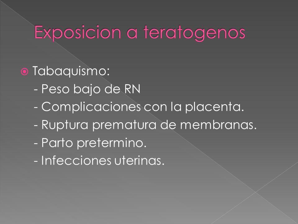 Tabaquismo: - Peso bajo de RN - Complicaciones con la placenta. - Ruptura prematura de membranas. - Parto pretermino. - Infecciones uterinas.