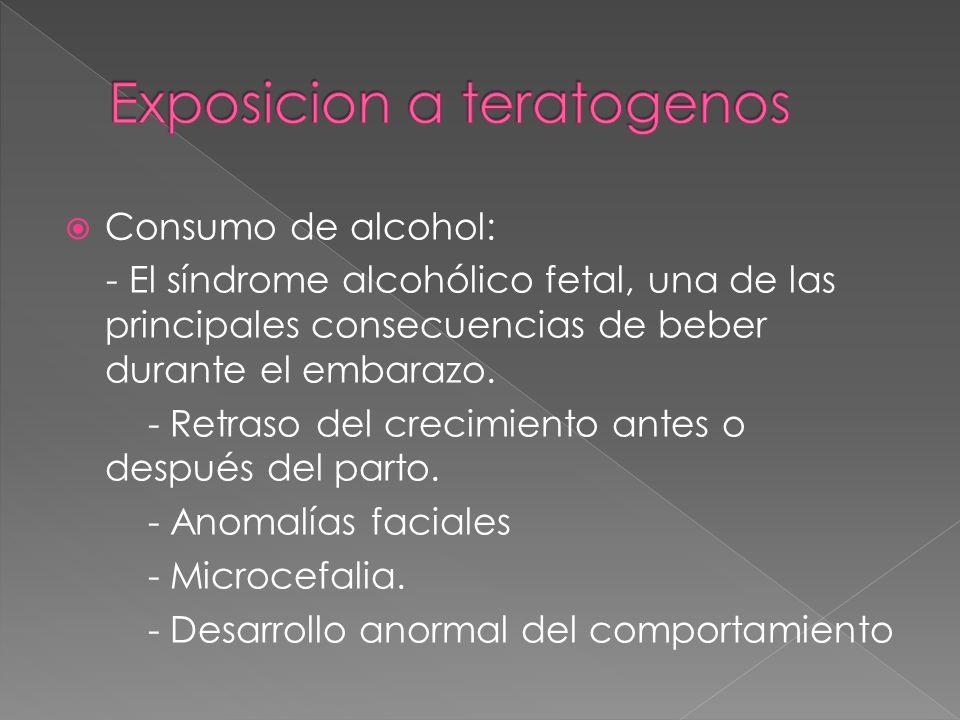 Consumo de alcohol: - El síndrome alcohólico fetal, una de las principales consecuencias de beber durante el embarazo. - Retraso del crecimiento antes