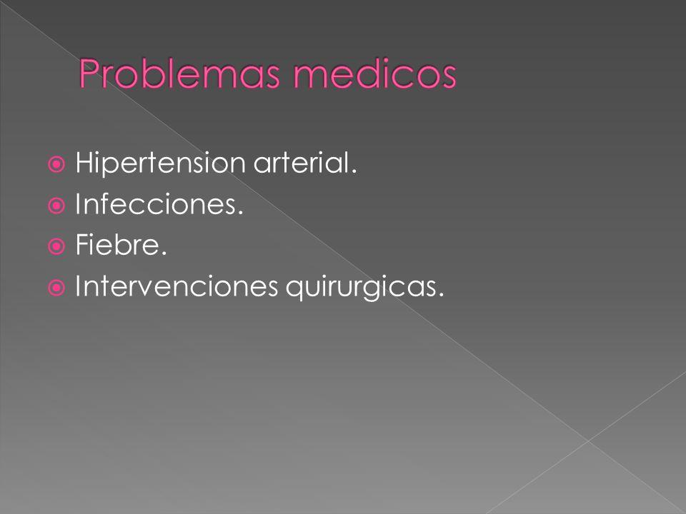 Hipertension arterial. Infecciones. Fiebre. Intervenciones quirurgicas.