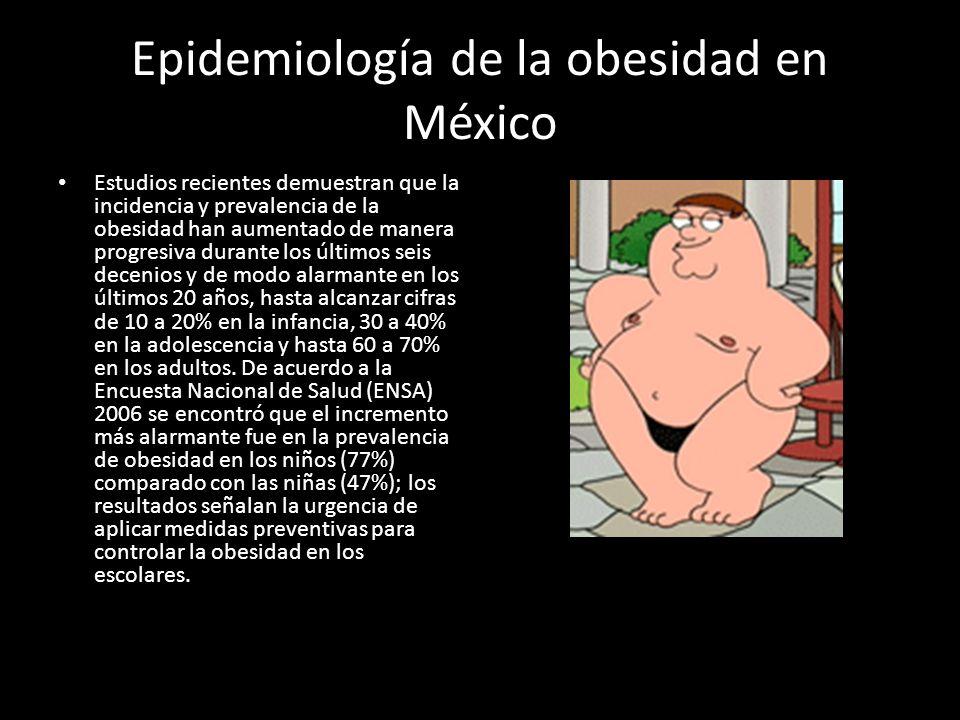 Epidemiología de la obesidad en México Estudios recientes demuestran que la incidencia y prevalencia de la obesidad han aumentado de manera progresiva