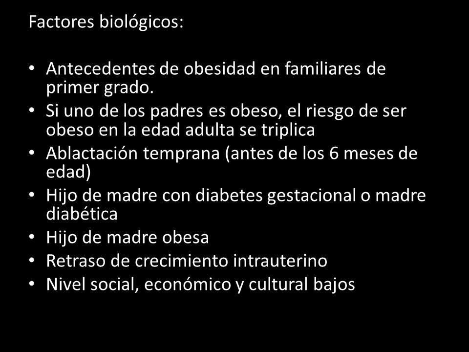 Factores biológicos: Antecedentes de obesidad en familiares de primer grado. Si uno de los padres es obeso, el riesgo de ser obeso en la edad adulta s